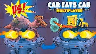 Car Eats Car Multiplayer - Sawcar VS Dinosaur Robot - Walkthrough Online Race Game
