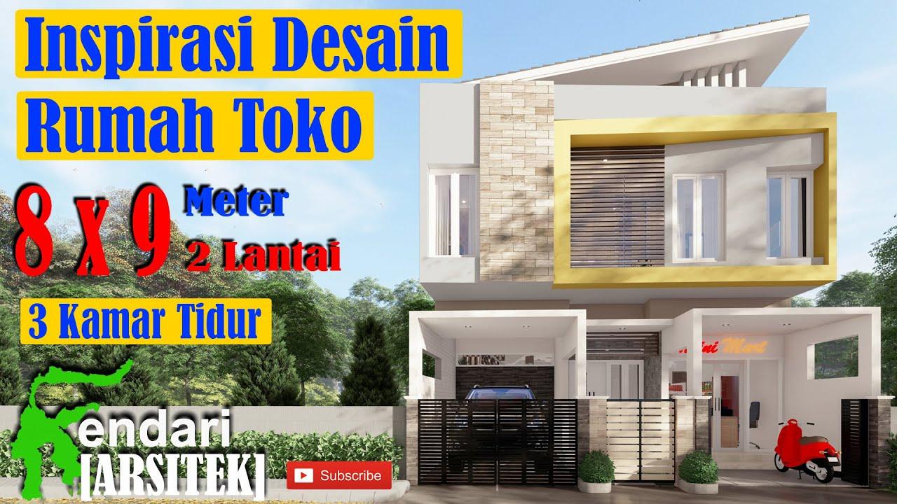 Desain Rumah Toko Minimalis 8x9 Meter, 3 Kamar Tidur, 2 ...