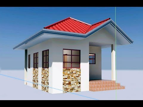 Autodesk Cad 3D modeling of Two Bedroom House featuring Gabled roof tiles creation