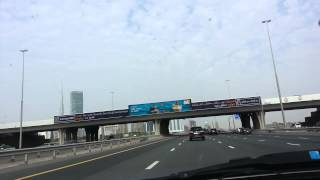 Burj Khalifa and the towers view in Dubai from Alkhail road