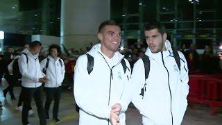 بالفيديو .. استقبال حافل لـ #ريال_مدريد في #برشلونة