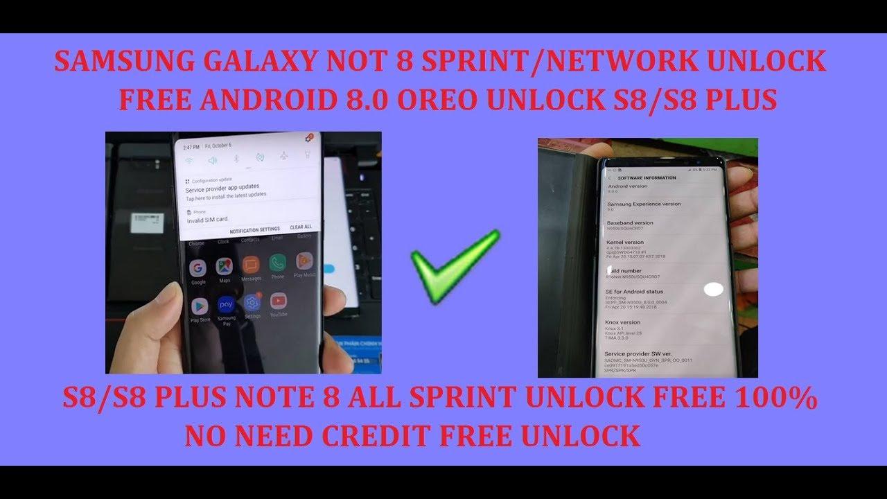 SAMSUNG Galaxy Note 8 (SM-N950U) Sprint/Network Unlock Free No Need Credit