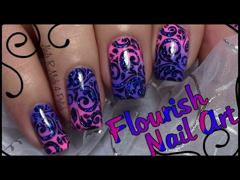 flourish stamping nails with glitter / easy nail art