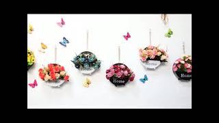 벽 꽃바구니 재료 장식 펜던트 거실 침실 꽃꽂이 진열대…