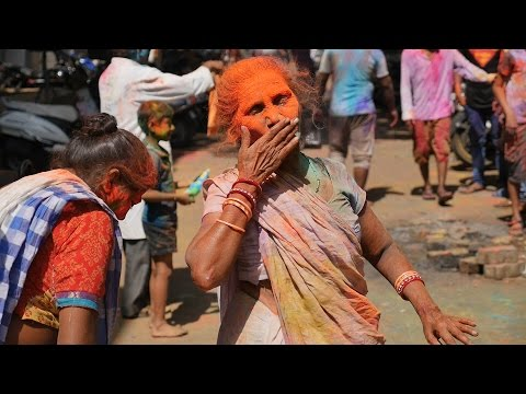 Indian Woman Celebrating Hindu Festival Holi in Kamathipura Mumbai Maharashtra India Funny Woman