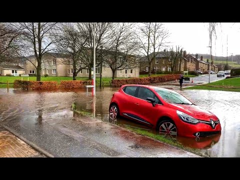 Massive Flooding In Bridge Of Allan   Aftermath Of Storm Dennis, February 2020