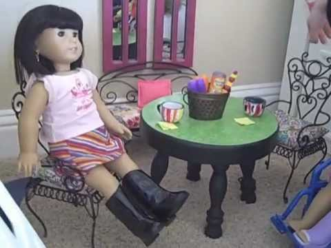 How To Make A Table And Chairs For Your  American Girl Dolls.