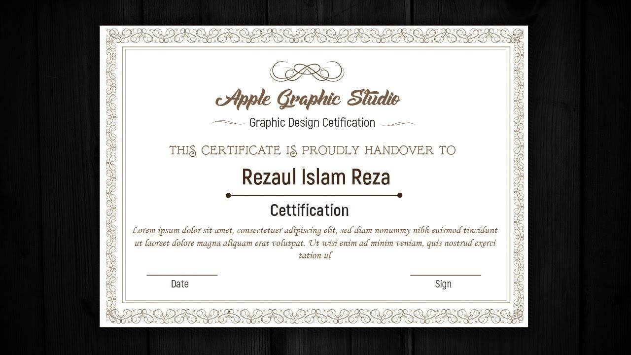 How to Design a Certificate Template - Adobe Illustrator Tutorial ...