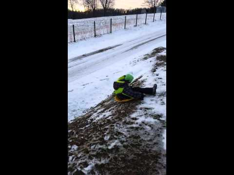 Sled riding crash!!!