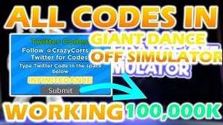 ALL 3 NEW UPDATE 4 CODES IN GIANT DANCE OFF SIMULATOR! (Roblox)