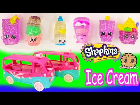 Shopkins Season 3 Glitzi Scoops Ice Cream Truck Playset Food Fair 4 Exclusive Toys Video Unboxing