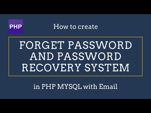 Recover Forgot Password - Php MySQL