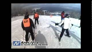 How does a Blind Person Ski? With an Amplified Guide using an AmpliVox Belt-Blaster