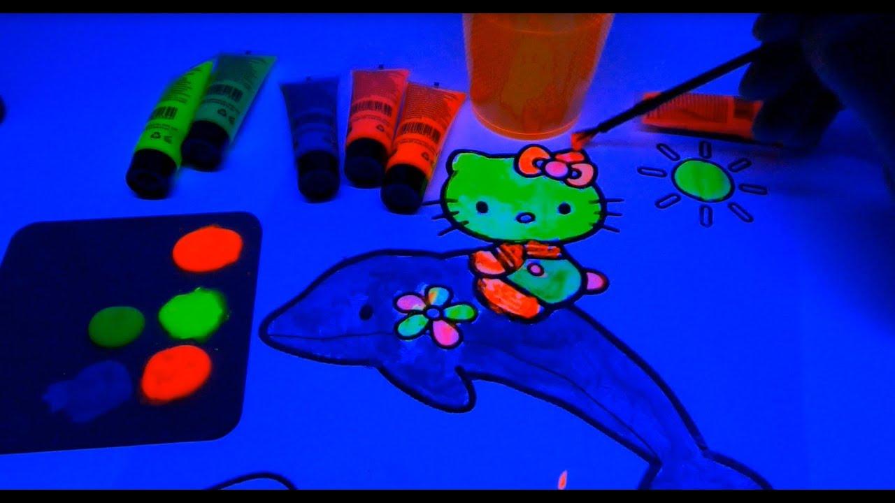 Hello kitty neon painting black light fun for kids diy youtube aloadofball Images