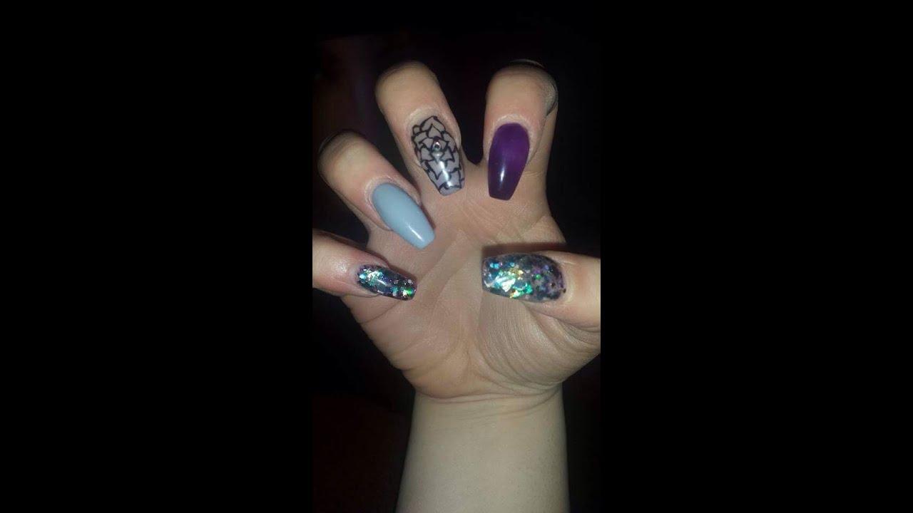 purple grey acrylic nails