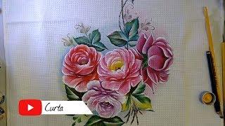 Aprenda a Pintar Rosas em Tecido