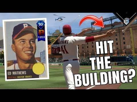93 EDDIE MATHEWS HITS A BUILDING!? HE CRUSHED IT! MLB The Show 18 Battle Royale