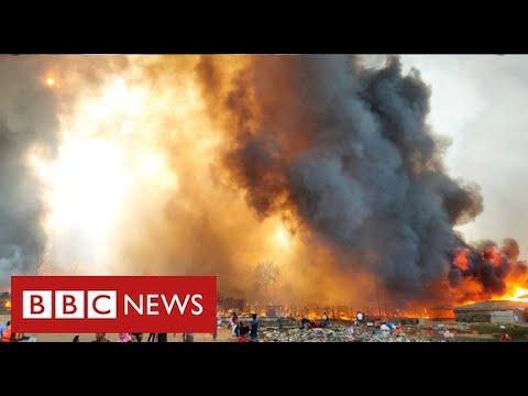 Hundreds missing after devastating fire in world's biggest refugee camp - BBC News