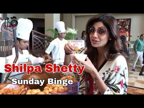Shilpa Shetty - Sunday Binge begins with Ragda panipuri 😜😜Dessert comes later