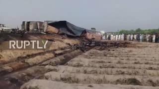 Pakistan: Oil tanker fire leaves at least 135 dead in Bahawalpur *GRAPHIC* thumbnail
