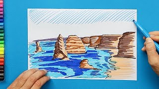 How to draw and color The Twelve Apostles, Australia