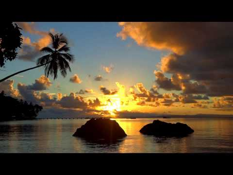 1 HOUR Relaxing Music with Nature Tropical Sunset Ocean Scene South Pacific Vlog