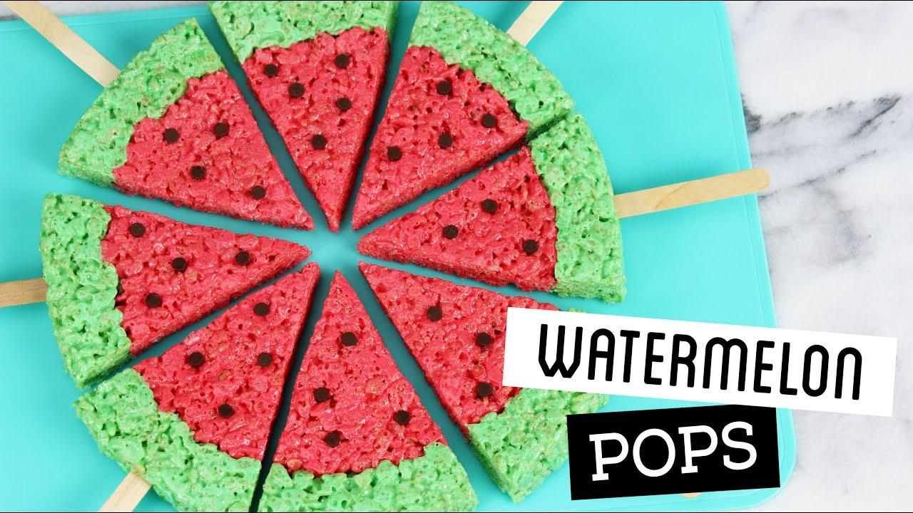 How to Make Watermelon Rice Krispie Treat Pops! - YouTube