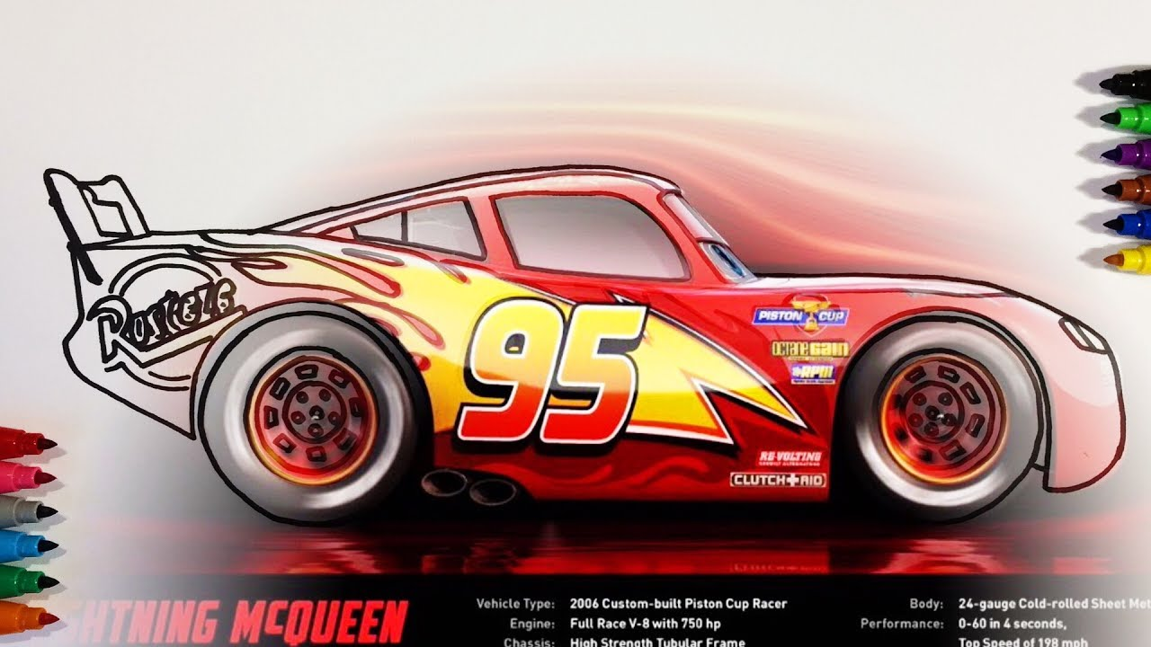 Cars 3 Lightning McQueen Profile Coloring Pages For