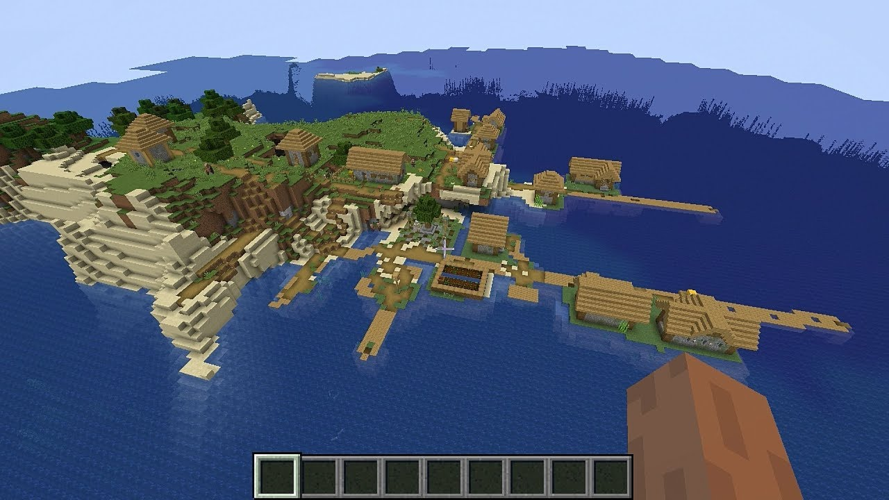 Minecraft 1 14 1 Seed 187: Village on a survival island at spawn!