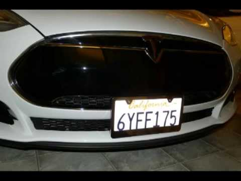 tesla model s front license plate mounting with 2 zip ties