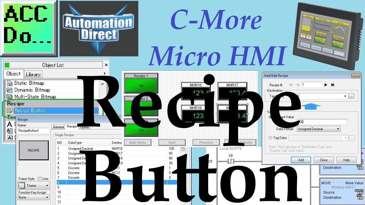 C-More Micro HMI Object Recipe | Acc Automation