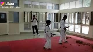 Taekwondo tile breaking test for blue Belt 1