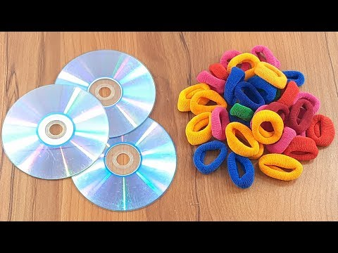 Hair rubber bands & Waste cd disc reuse idea   Home decorating   best out of waste