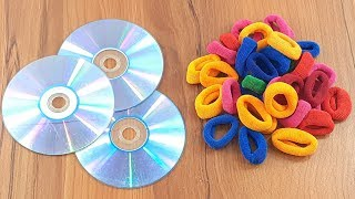 Hair rubber bands & Waste cd disc reuse idea | Home decorating | best out of waste