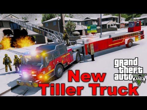 GTA 5 Firefighter Mod Brand New Tiller Ladder Firetruck Responding & Fighting Fires In Los Santos