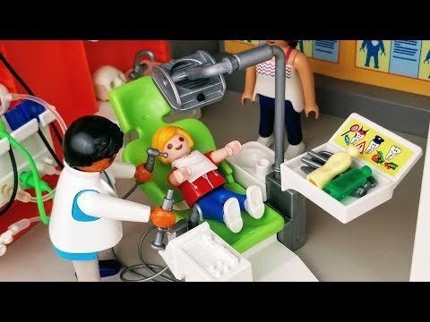 Fixing a Cavity - Playmobil Hospital and Playmobil Dentist - Stories with Dolls