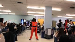 Kid goes Super Saiyan in high school cafeteria