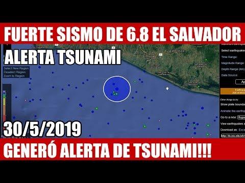 ULTIMA HORA, FUERTE SISMO DE 6.8 GOLPEA LA COSTA DE EL SALVADOR 30/5/2019