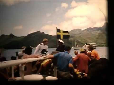 MS Kungsholm 1973 Nuku Hiva crew tender ashore and back