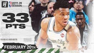 Giannis Antetokounmpo 33 Pts 16 Reb Full Highlights   Bucks vs Pistons   February 20, 2020