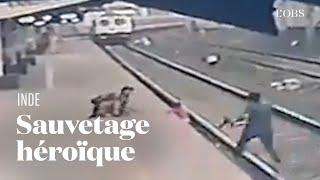 En Inde, un cheminot héroïque sauve un enfant qui était piégé sur les rails
