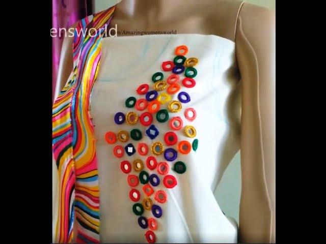 Creative Mirror Work designing Churidar/Kurti   Aari/Maggam Hand Embroidery  Hand Stitches- Simple
