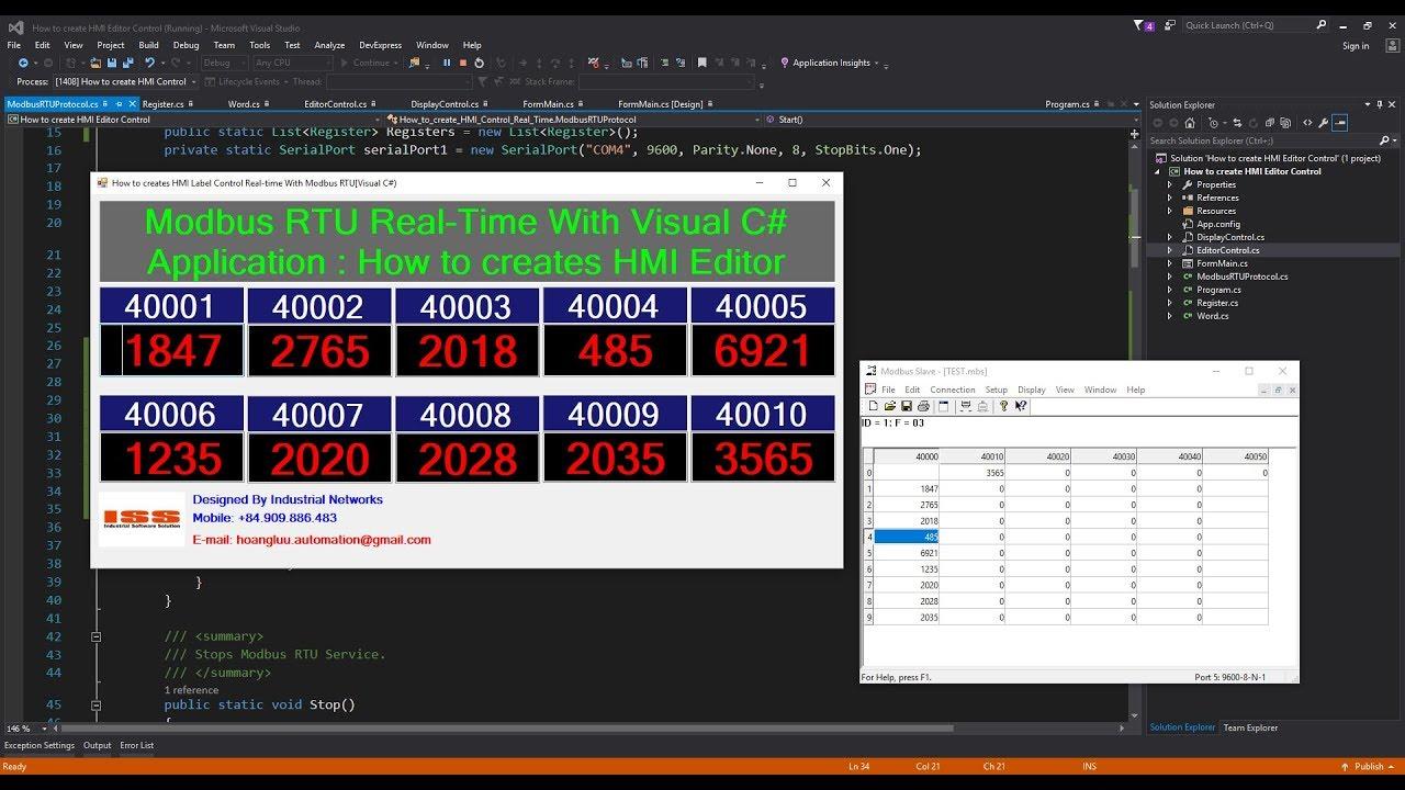Modbus RTU Real-Time With Visual C# Application : How to creates HMI Editor  Control