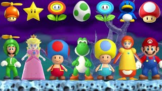 New Super Mario Bros Wii - All Characters & Power-Ups