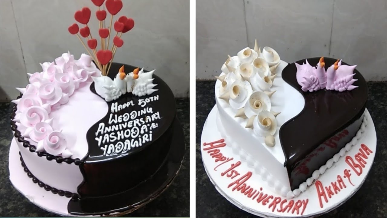 Browse our recent anniversary and engagement cake creations and designs. Two Anniversary Cake Amazing Design Heart Shape And Round Cake Flowers Design Cake Youtube