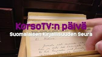 Suomalaisen Kirjallisuuden Seura ja sen arkistot - KorsoTV:n päivä 27.11.2019