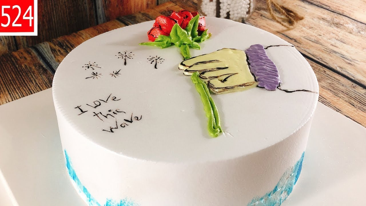 cake decorate-Rosa painting image-chocola – bánh kem vẽ cành hoa hồng (524)