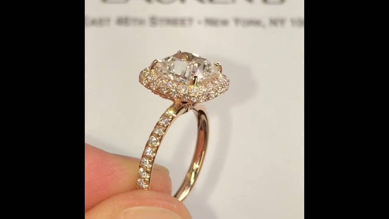 250 Ct Cushion Cut Diamond Engagement Ring In Rose Gold