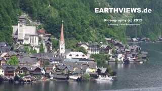 4k Hallstatt village overview from mountain in Austria alps