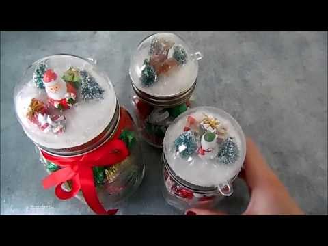 Snowglobe Christmas Mason Jar Craft